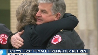 Longest serving female firefighter retires from Milwaukee Fire Department - Video