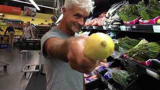 Man Cycles, Sails, and More Through Grocery Store - Video