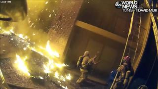 Dramatic video shows firefighter saving child thrown from third floor to avoid fire - Video