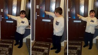 Parents Prank Their Kids With Elf Outside The Front Door - Video