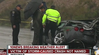 Victim of storm-caused crash not named - Video
