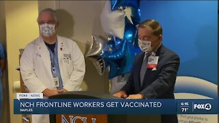 Frontline workers get vaccinated