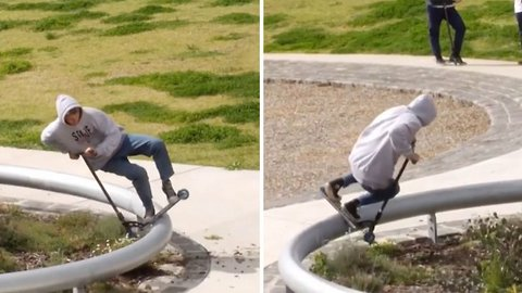 Skilled scooter rider completes full 360 degree grind