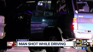 Man shot while driving near 24th Street and Southern Avenue - Video