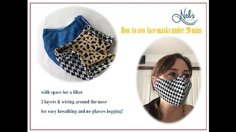 How to sew face masks under 20 mins with space for a filter, 3 layers, and wiring around the nose!