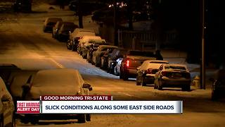 Greater Cincinnati side streets snow-covered, icy - Video