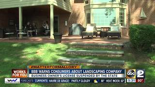 BBB warns homeowners about local landscaping company - Video