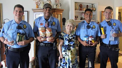 Adorable 94-year-old grandma gushes over 'handsome' police officers, as she thanks them for their service