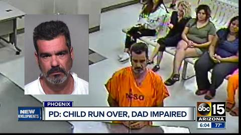 Emotional court plea after a child is run over, and the father is arrested for possible impairment