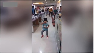 Toddler Brings Supermarket To A Standstill With Adorable Dance Moves - Video