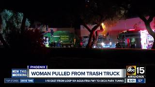 Woman pulled from trash truck in Phoenix - Video