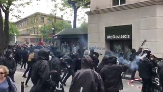 Paris McDonald's Destroyed During May Day Protests - Video