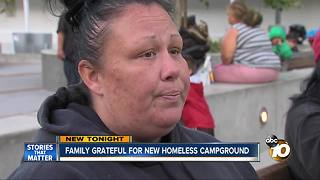 Family grateful for new homeless campground - Video