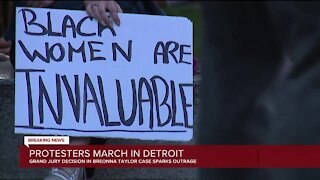 Protesters march in Detroit in response to jury decision in Breonna Taylor case