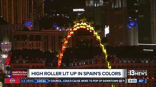 High Roller in Las Vegas changes lights to show solidarity with Spain after Barcelona attack - Video