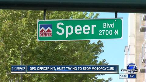 Officer struck by motorcycle