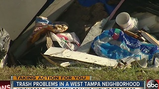 West Tampa residents concerned about trash in their neighborhood - Video