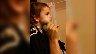 Sweet Toddler Learns How To Shave - Video