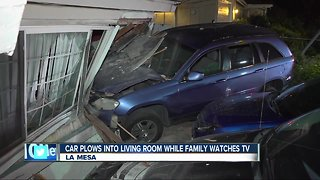 La Mesa family startled after car slams into their home
