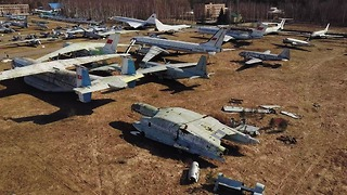 Abandoned experimental soviet planes captured from drone - Video