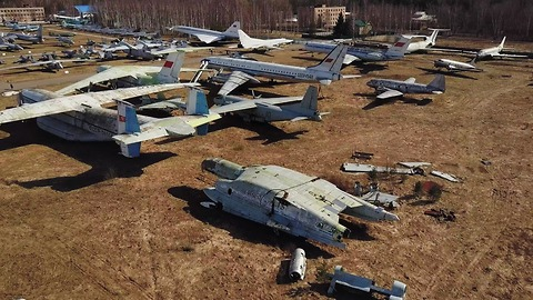 Abandoned experimental soviet planes captured from drone