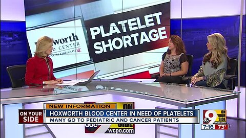 Hoxworth Blood Center appeals for platelet donors