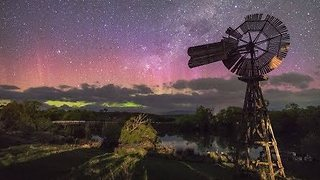 Southern Lights Spread and Shimmer Over Tasmanian Skies - Video