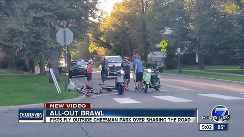 Fight in Cheesman Park between cyclists and scooter riders caught on video