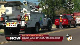 Balloon causes explosion, water line break - Video