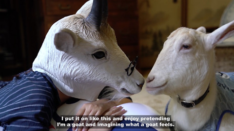Woman Obsessed With Pet Goat Puts On A Mask To Become One