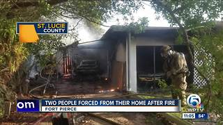 Fort Pierce fire displaces 2 people - Video