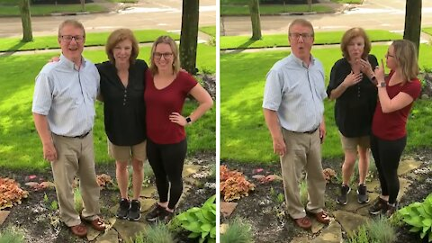 Dad totally caught off guard for pregnancy announcement