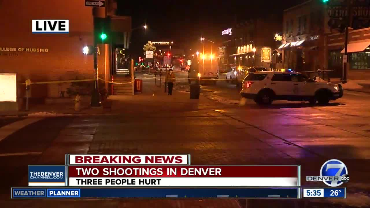 Three wounded in shootings in LoDo overnight