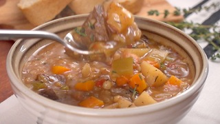 Slow Cooker Beef Barley Soup - Video