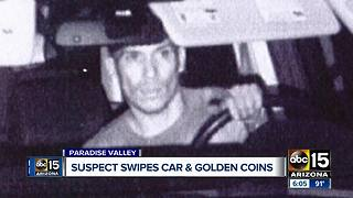 Suspect swipes car and golden coins - Video