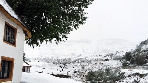Snow way: Bizarre moment snow covers South African countryside during crippling drought