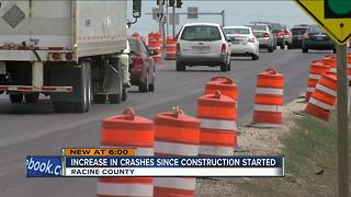 Increase in crashes since road construction started in Racine County