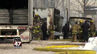 Semi total loss after fire - Video