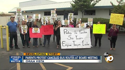 Parents protest canceled bus routes at board meeting