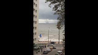 Huge waterspout spotted off Uruguay coast - Video