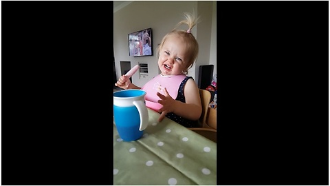 Toddler tries ice cream, gets instant brain freeze
