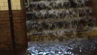 Water Gushes Down Stairs, Floods Platform at West 145 Street Subway - Video