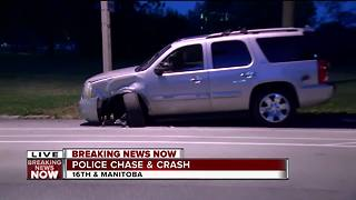 Police chase ends in crash on Milwaukee's south side - Video