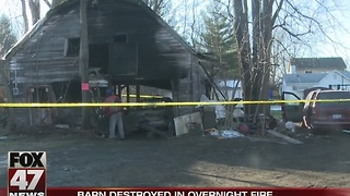 Pole barn destroyed early Sunday in Lansing - Video