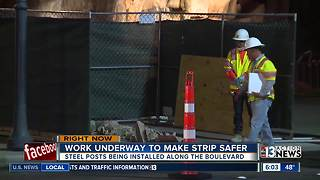 Bollards being installed on Las Vegas Strip