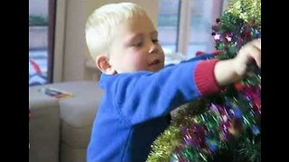 Boys Get Into Festive Spirit by Decorating Christmas Tree - Video