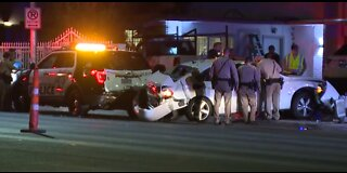 Car crashes into LVMPD vehicle