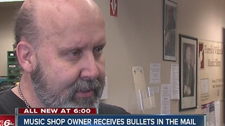 Music shop owner receives bullets in mail - Video
