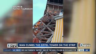 Man climbs the Eiffel Tower on the Strip - Video