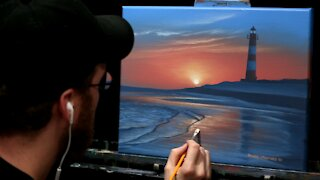 Acrylic Seascape Painting of a Lighthouse and Rosy Sunrise - Time-lapse - Artist Timothy Stanford